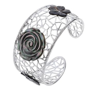 SHIPS FROM USA Shell flower Filigree bangle bracelet flexible jewelry mother's day gifts for women mom her wife J003