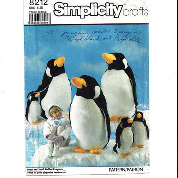 Simplicity 8212 Pattern for Stuffed Penguins, Large 41 Inch & Small 22 Inch, From 1987, Stuffed Animal Pattern, Home Sewing, Vintage Pattern
