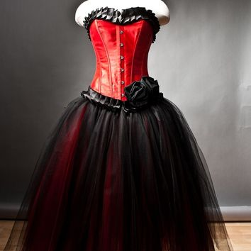 Custom Size  Red and Black burlesque corset prom dress tea length available in small-xl