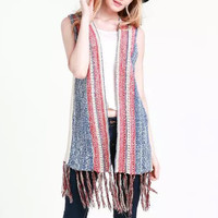 Tribal Striped Knitted Fringed Vest