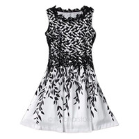 Vintage Lace Sleeveless leaves Dress---Freeman = 1945758276