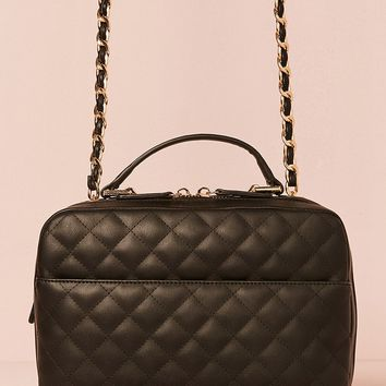 Quilted Faux Leather Satchel