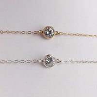 Extreme Choker Tiny Diamond Necklace, CZ Gold or Silver Dainty Necklace, Womens Gift, Bridesmaid