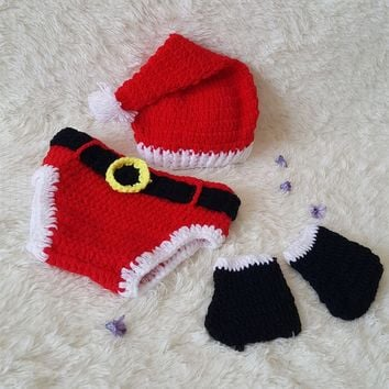 New baby handmade sweater, Christmas hat, underwear, shoes three suits 171123