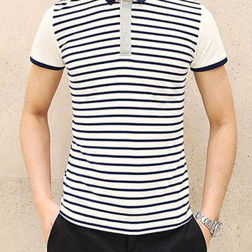 Striped Short Sleeve Polo T-Shirt