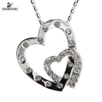 Swarovski Clear Crystal INTERLOCKED HEARTS Pendant Necklace Rhodium #5022442