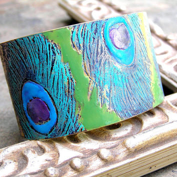 Hand Painted Etched Cuff Peacock Feathers Bracelet