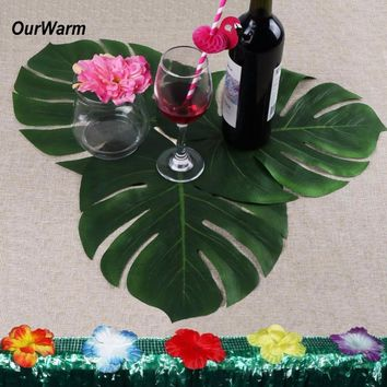 ourwarm 24pcs 35X29cm Artificial Tropical Palm Leaves for Hawaiian Party Decorations Luau Party Tropical Theme Leaf Place Mat