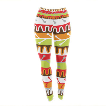 "Jacqueline Milton ""Salsa - Orange"" Yellow Red Yoga Leggings"
