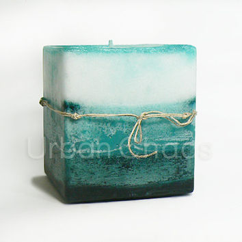 Pillar Square Candle 4x6 White Blue & Teal Large Pillar Candle, Scented Pillar Candles Hand Poured Rustic Beach Colors - Unique Candles