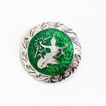 Sale - Vintage Sterling Silver Siam Green Guilloche Enamel Brooch - 1940s Goddess of Lightning Statement Round Thai Filigree Jewelry Pin
