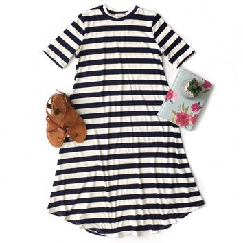 Navy Striped Swing Dress