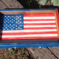 American Flag wooden serving tray with handles, distressed