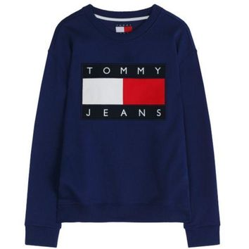 Tommy Hilfiger Fashion Casual Round Neck Women Silver Logo Printed Sweatshirt G