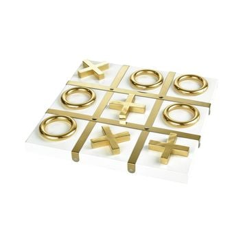 Vanquish Decorative Tic Tac Toe Game Gold
