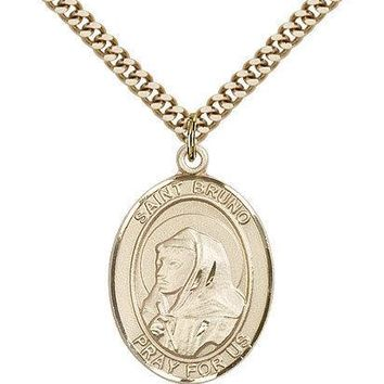 "Saint Bruno Medal For Men - Gold Filled Necklace On 24"" Chain - 30 Day Money ... 617759186765"