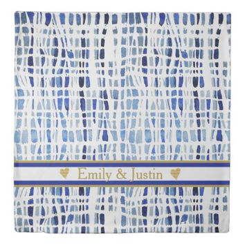 Chic Blue Tye Dye Stripes Personalized Duvet Cover