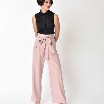 1940's Blush Pink High Waist Wide Leg Trousers