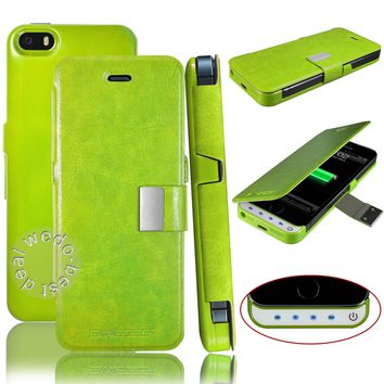 Green Backup Battery Charger Case Cover For iPhone 5 5S 1 Year Warranty