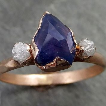 Partially faceted Raw Sapphire Diamond 14k rose Gold Engagement Ring Wedding Ring Custom One Of a Kind Violet Gemstone Ring Three stone Ring 0510