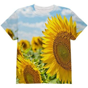 ESBGQ9 Sunflower Fields All Over Youth T Shirt