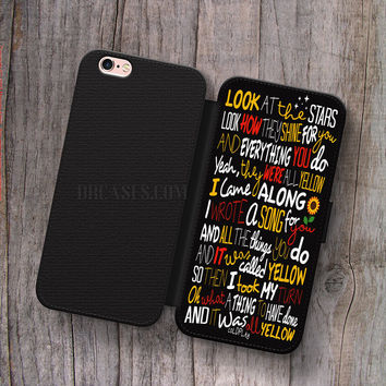 coldplay yellow lyrics Wallet Leather Case for iPhone 4s 5s 5C SE 6S Plus Case, Samsung S3 S4 S5 S6 S7 Edge Note 3 4 5 Cases