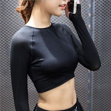PEAPLO3 2016 Spring And Autumn Woman's Yoga Long-Sleeved T-Shirt Crop Top Transparent Patchwork Mesh Sports Fitness T-Shirt