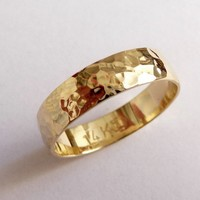 Gold mens wedding band wedding ring 5mm wide hammered for men and women yellow domed traditional