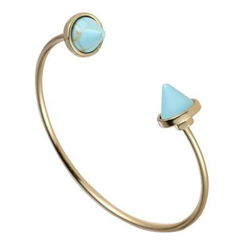 Gold Natural Blue/White Faux Marble Stone Cuff Bangle Bracelet