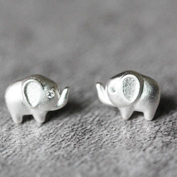 Tiny Elephant Earrings, Sterling Silver Elephant Stud Earrings, Tiny earrings, Animal studs earrings, Elephant Jewelry, gifts for her