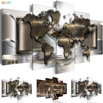 World Map Prints Poster Wall Painting 5 Pieces Modern Matallic Abstract Canvas Art Modular Pictures for Office Decor