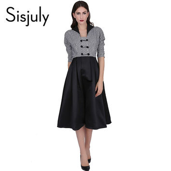 Sisjuly vintage dress patchwork retro 1950s style  women vestido evening party dresses a line female elegant vintage dresses