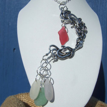 Art Deco Style Mermaid necklace, antique silver coloured 3'' mermaid with red and sea foam/white/manganese Scottish sea glass sterling chain