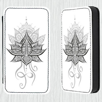 Lotus Flower Mandala PU Leather Flip Cell Mobile Phone Case iPhone 4 4s 5 5s 5c , Samsung Galaxy s3 s4