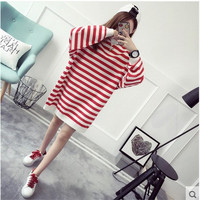 Fashion Stripe Scoop Neck Knit Loose Top Sweater Pullover