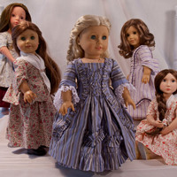 PDF Pattern for 1770s Sacque Back Gown 18-inch American Girl Doll, 18-inch Slim Gotz Doll, and 16-inch A Girl For All Time Doll