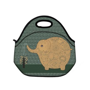 Cute Elephant Neoprene Insulated Picnic Cooler Lunch Bag Tote Women's Handbag Box Food Container Thermal Lunchbox Bag Waterproof
