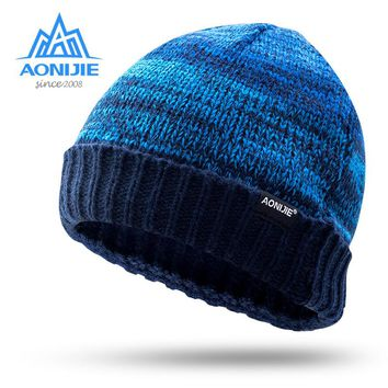 AONIJIE men women knitted hat outdoor cycling running sports warm flanging wool Cap warm winter leisure sports cap