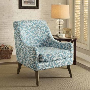 Bertha collection blue pattern print linen like fabric upholstered accent chair with wood legs