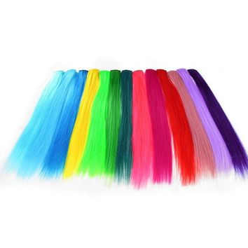 2PCS Clip-in One Piece for Ombre Hair Extensions Pure Color Straight Long Synthetic Hair