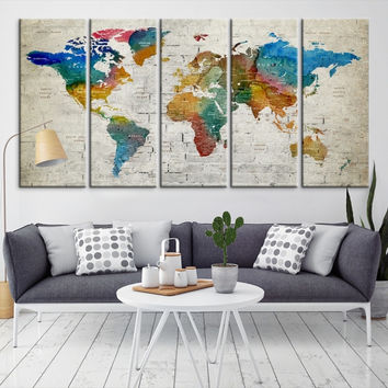 88802 - Large Wall Art World Map Canvas Print- Custom World Map Push Pin Wall Art- Custom World Map Canvas Poster Print- Personalized Wall Art