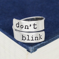 Don't Blink - Doctor Who - Adjustable Aluminum Wrap Ring