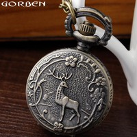 High Quality Retro Lovely Deer Forest Flowers Trees Small Quartz Pocket Watch Chain Necklace Women Ladies Watches Pocket Watch