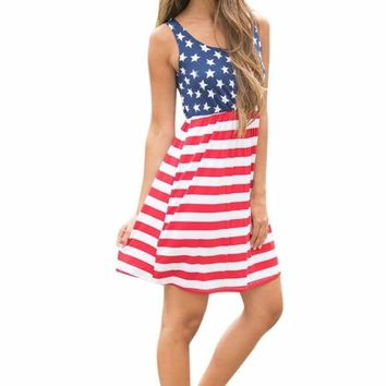 Hot American Flag Printing Womens Summer Dress 2017 Vintage Sexy Sleeveless Fit and Flare Cotton Mini Dress Femme Vestidos Macchar Cosplay Catalogue