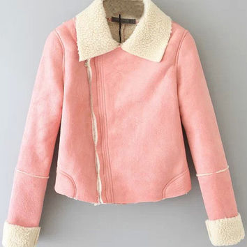 Pink Long Sleeve Zipper Coat
