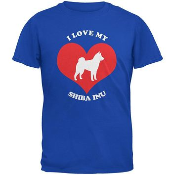 Valentines I Love My Shiba Inu Royal Adult T-Shirt