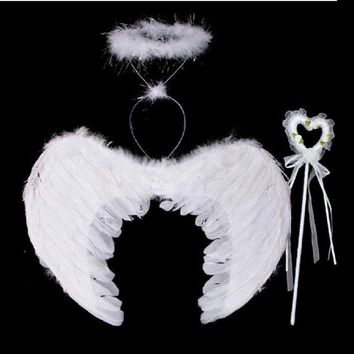 Feather Angel Fairy Wings Wand Halo 3Pcs Set Halloween Party Fancy Dress Costume LH8s