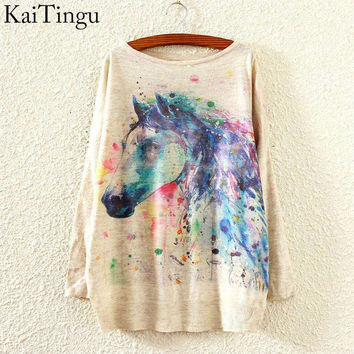 KaiTingu 2015 New Fashion Autumn Winter Clothing Women Sweater And Pullover Long Batwing Sleeve Jumper Knitwear Horse Print