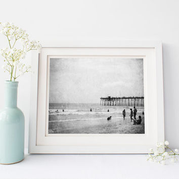 Digital download, vintage black and white ocean, instant printable, Kure Beach pier, summer, Wilmington North Carolina, wall art home decor