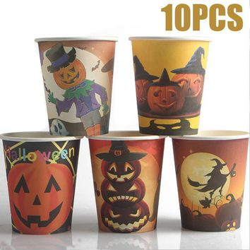 10pcs/lot Pumpkin Disposable Tableware Paper Drinking Cups Cartoon Printed Halloween Paper Cup Halloween Party Decoration